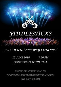 Fiddlesticks 10th Anniversary Concert poster